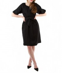 Silk Wool Blouson Dress